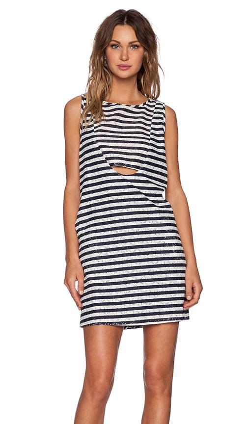 Heather Printed Lace Shift Dress in Stripe