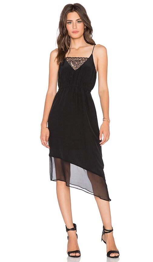 Heather Asymmetrical Silk & Lace Cami Dress in Black