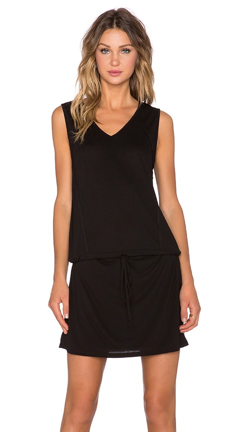 Heather V Neck Drawstring Dress in Black