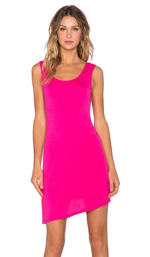 Heather Asymmetric Shirred Dress in Dahlia