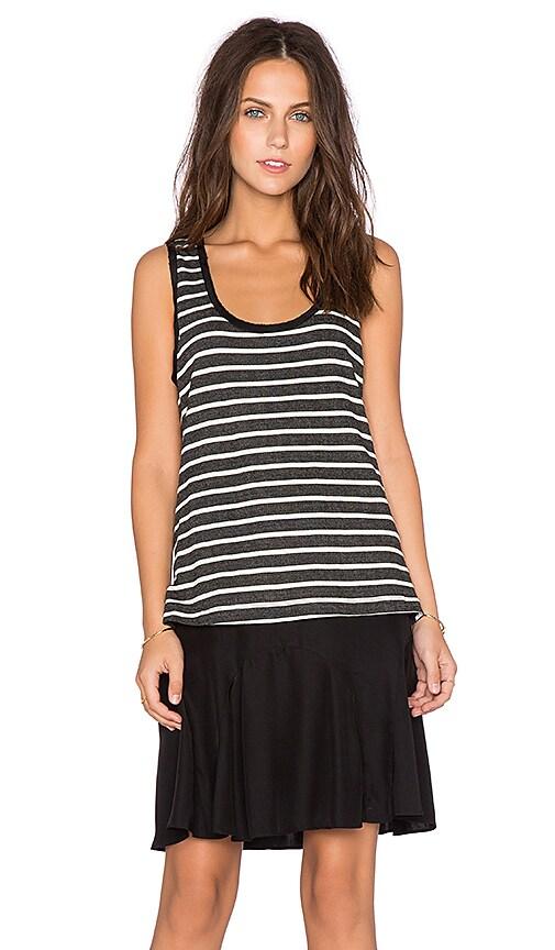 Heather Silk & Stripe Layer Dress in Black & Ivory