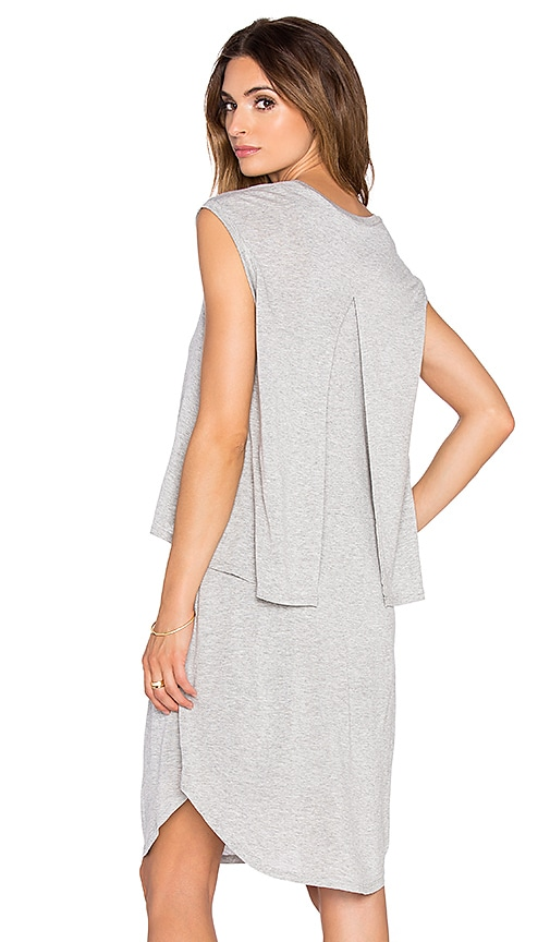 Heather Crop Top Overlay Dress in Light Heather Grey