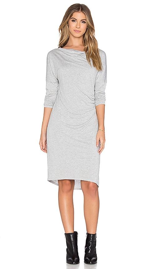 Heather Long Sleeve Shirred Dress in Light Heather Grey