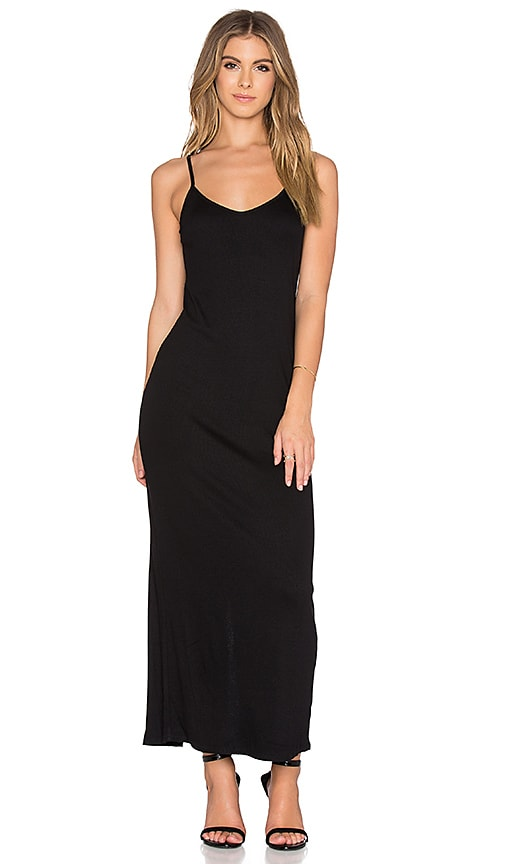 Heather Rib Slit Back Maxi Dress in Black