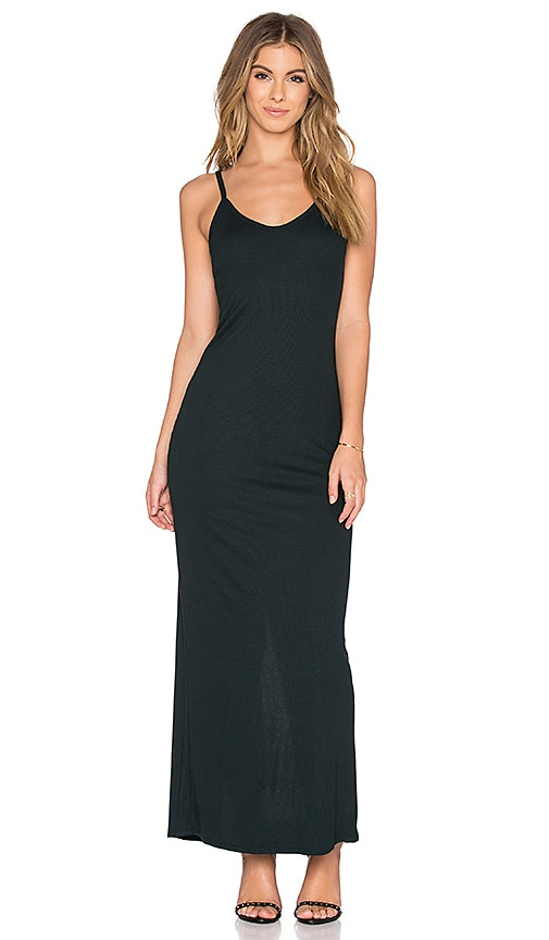 Heather Rib Slit Back Maxi Dress in Cypress