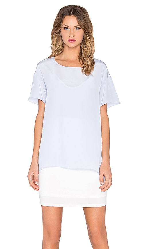 Heather Silk Overlay Tee Dress in Blue