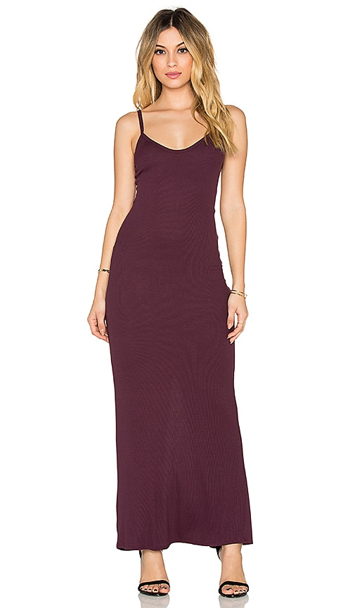 Heather Rib Slit Back Maxi Dress in Wine