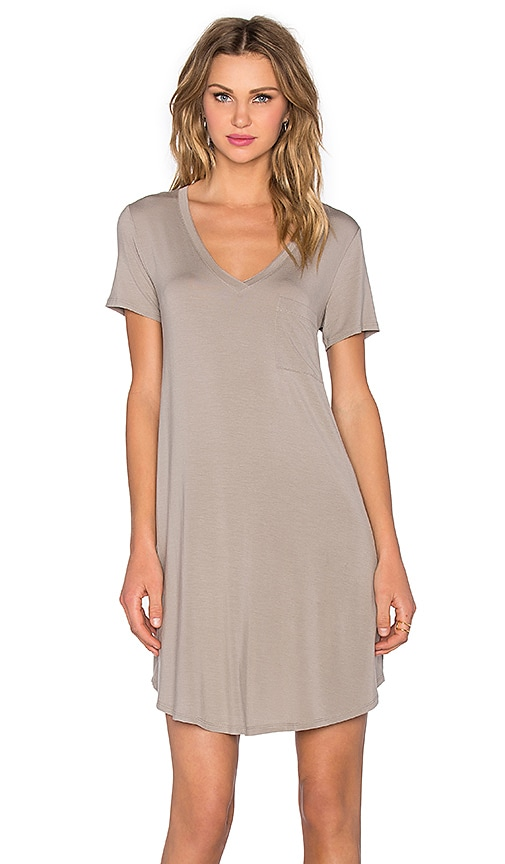 Heather V-Neck Pocket Tee Dress in Birch
