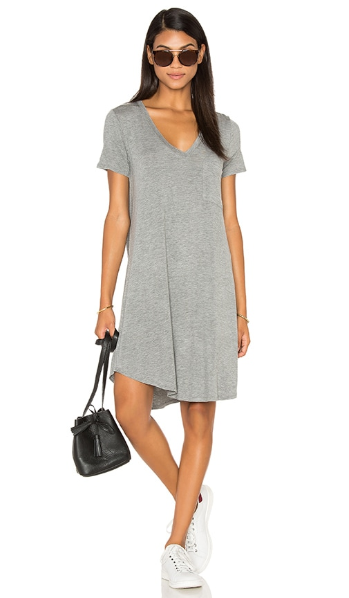 Heather V-Neck Pocket Tee Dress in Gray