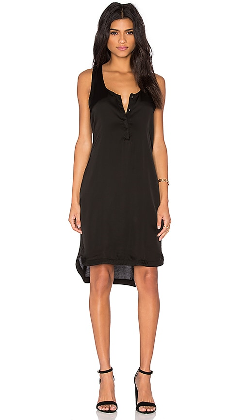 Heather Woven Henley Tank Dress in Black