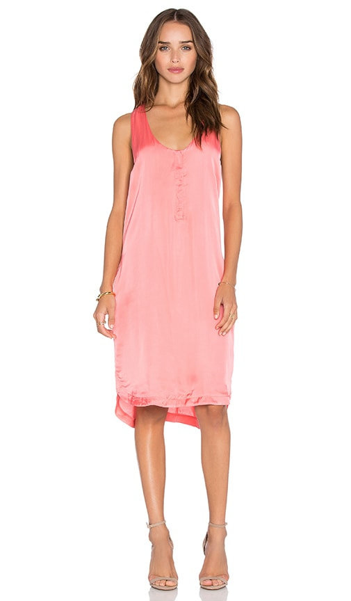 Heather Woven Henley Tank Dress in Coral