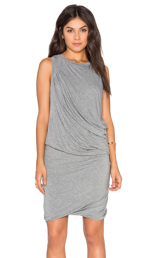 Heather Twisted Mini Dress in Gray