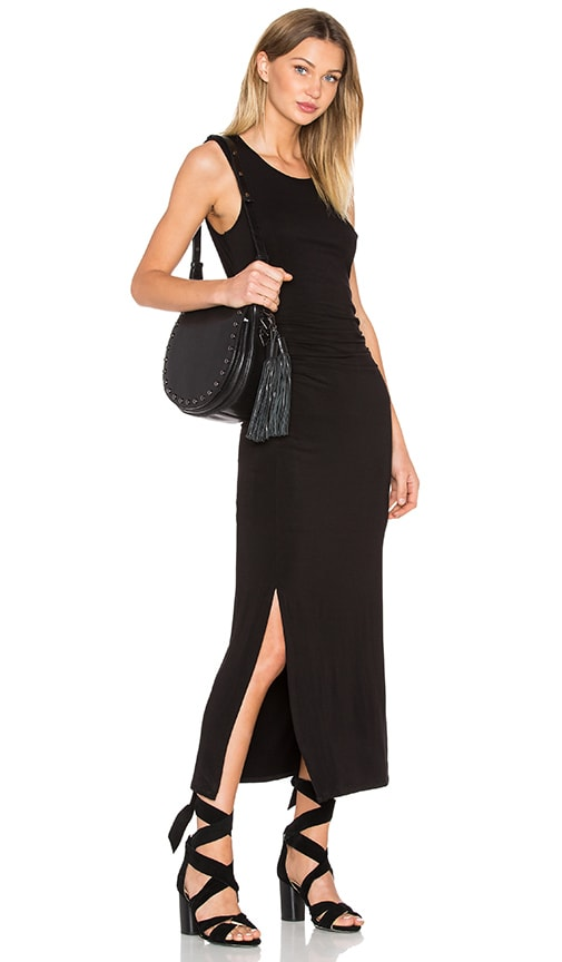 Heather Shirred Midi Tank Dress in Black