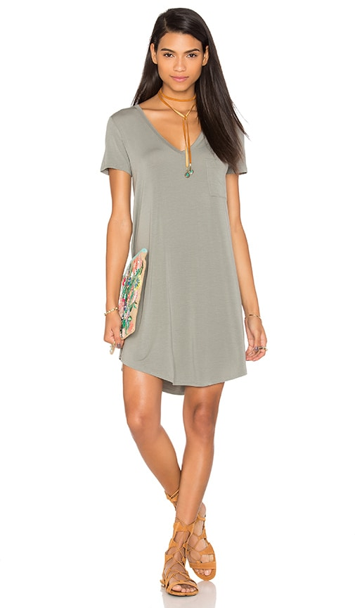 V Neck Pocket Tee Dress