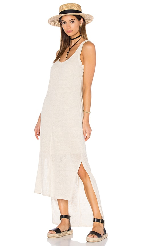 Heather Linen Hi Lo Tank Dress in Beige