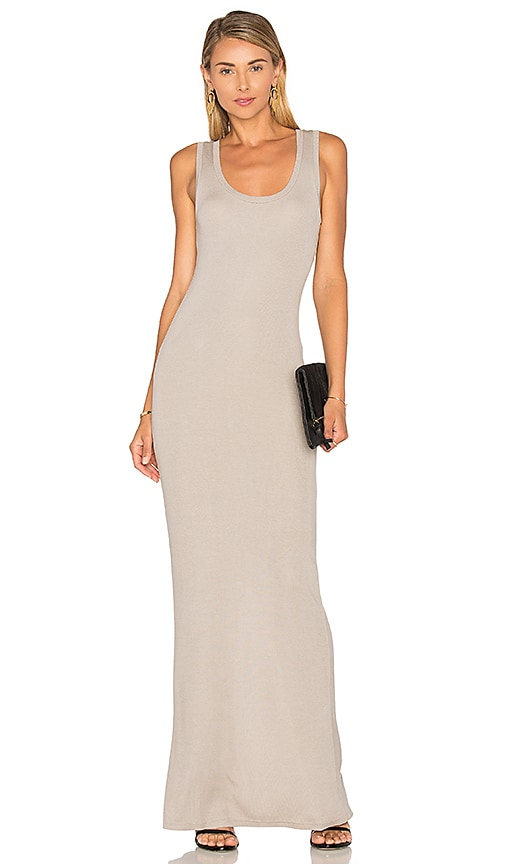 Heather Scoop Neck Tank Maxi Dress in Gray
