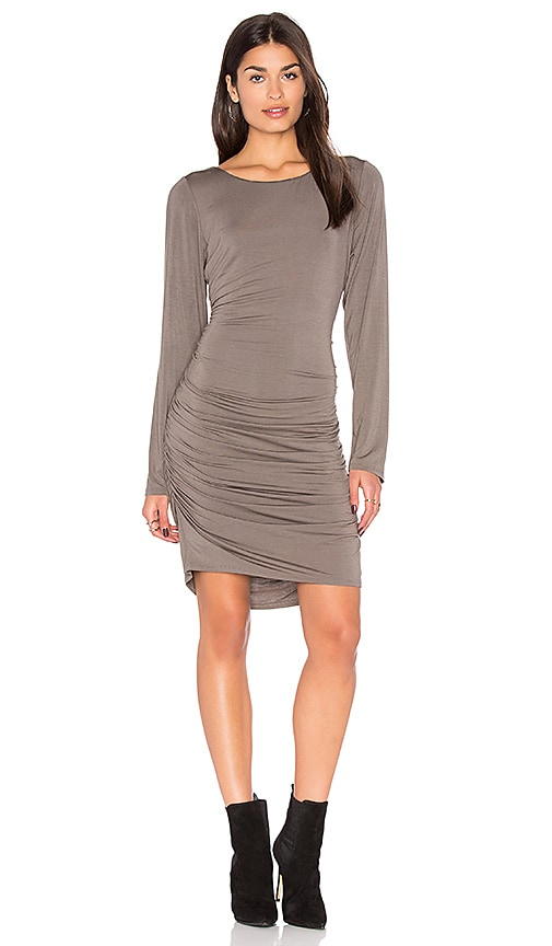 Heather Shirred Side Scoop Back Dress in Gray