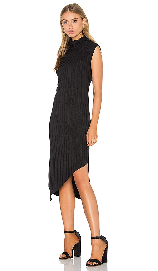 Heather Rib Mock Neck Dress in Black