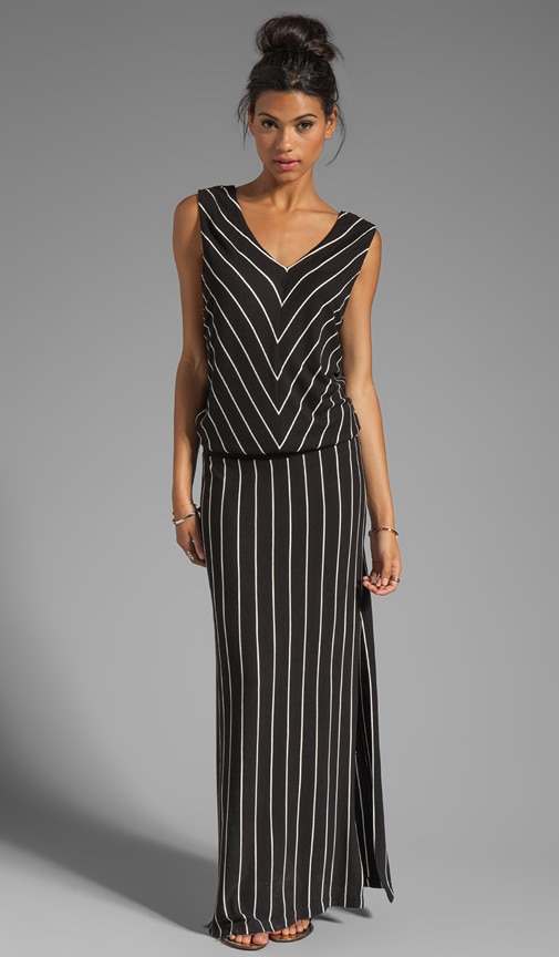 Rib Stripe Double V Maxi Tank Dress
