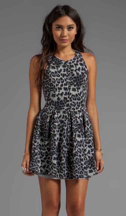 Leopard Fleece Pleated Dress