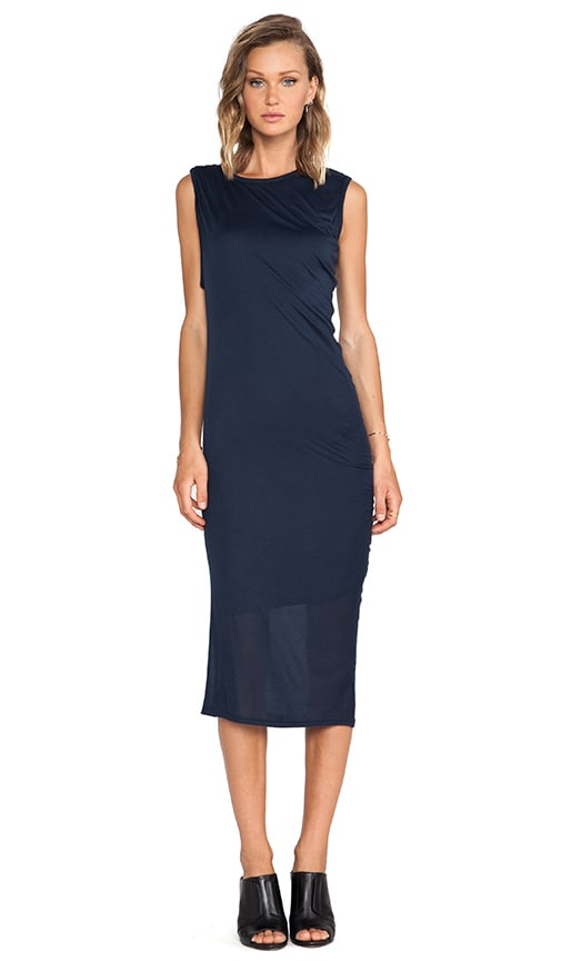 Asymmetrical Drape Midi Dress