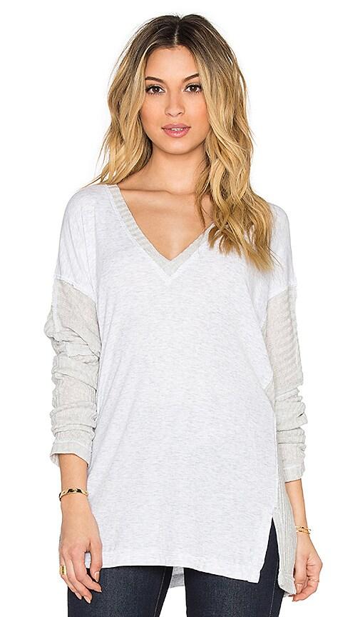 Heather V-Neck Sweater in Heather White
