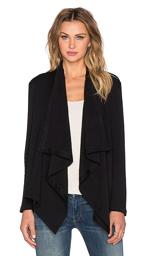 Heather Fleece Vent Back Cardigan in Black