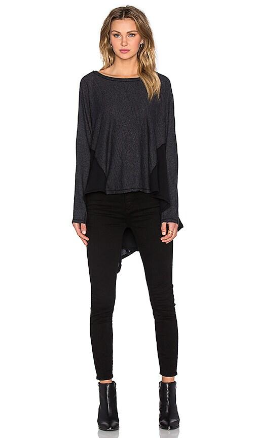 Heather Cotton & Gauze Dolman Sweater in Black