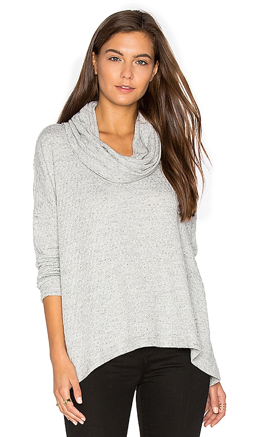 Heather Basket Jacquard Cowl Neck Pullover in Gray