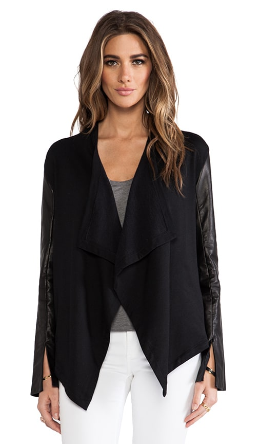 Leather Sleeve Cardi