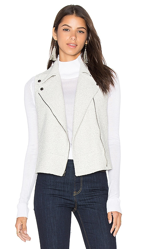 Heather Boucle Zip Vest in Light Gray