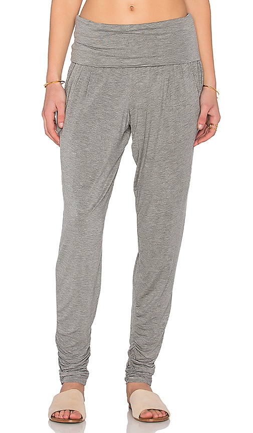 Heather Foldover Pencil Pant in Gray