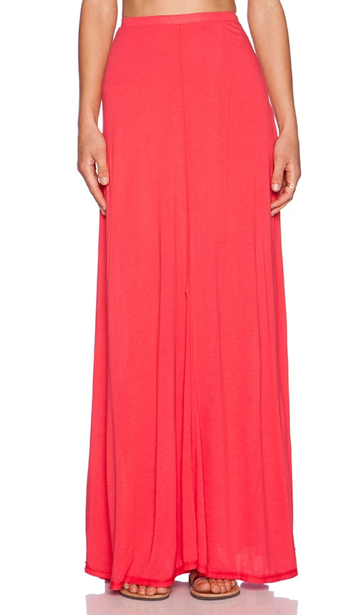 Heather Zip Maxi Skirt in Cherry