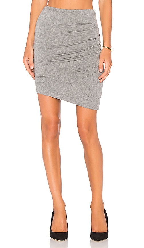 Heather Asymmetric Twist Skirt in Grey