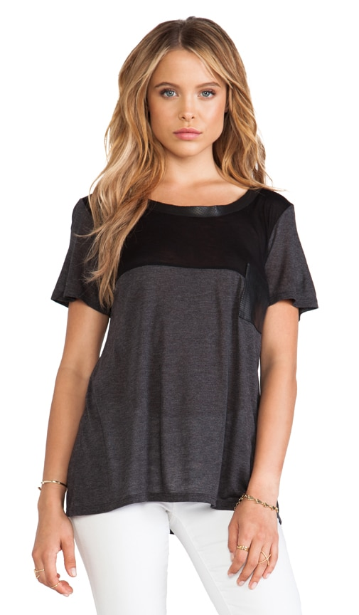 Short Sleeve Leather Trim Tee