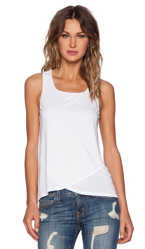Heather Wrap Front Tank in White