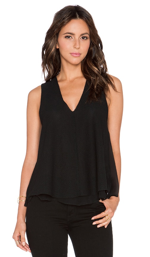 Heather Silk & Lace Double Layer Tank in Black