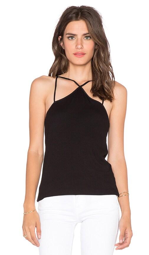 Heather V Back Silk & Rib Tank in Black
