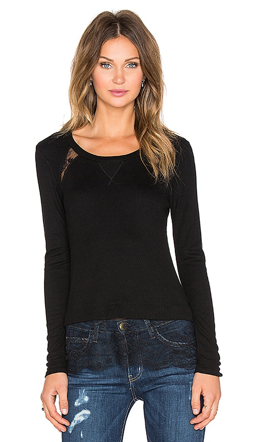 Heather Rib and Lace Long Sleeve Top in Black