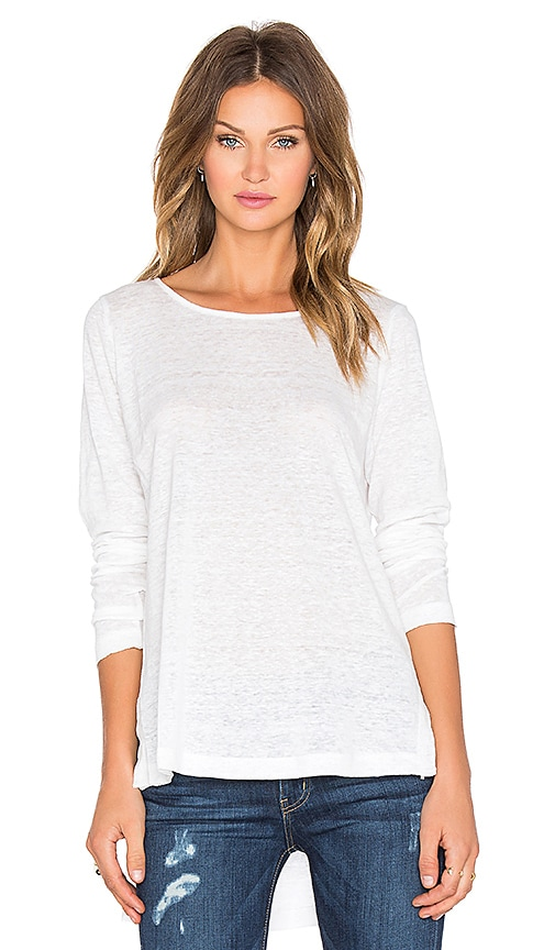 Heather Long Sleeve Linen Hi Lo Top in White