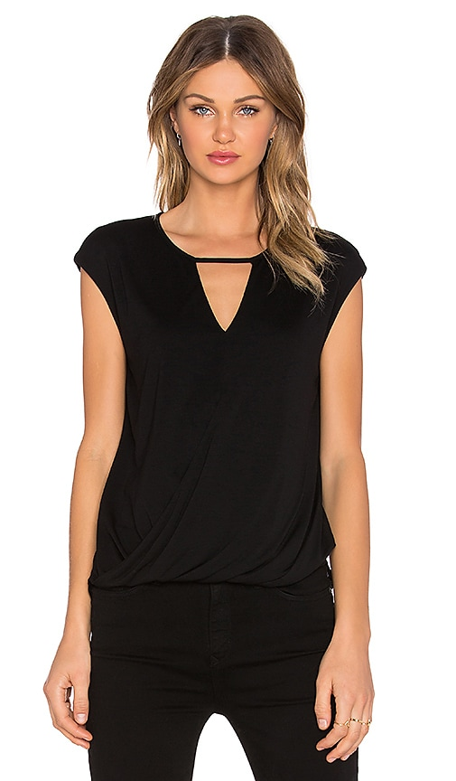 Heather Keyhole Wrap Top in Black