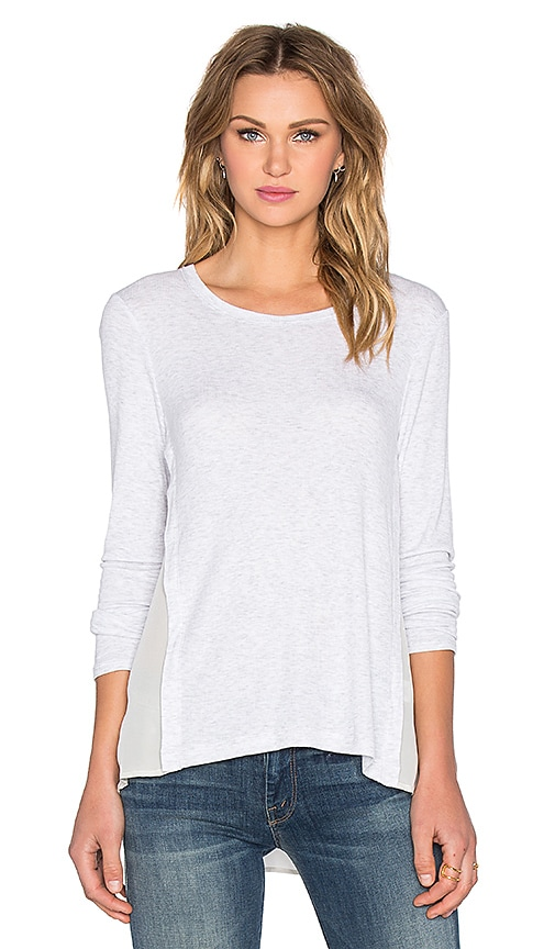 Heather Silk Overlay Slouchy Top in Light Gray