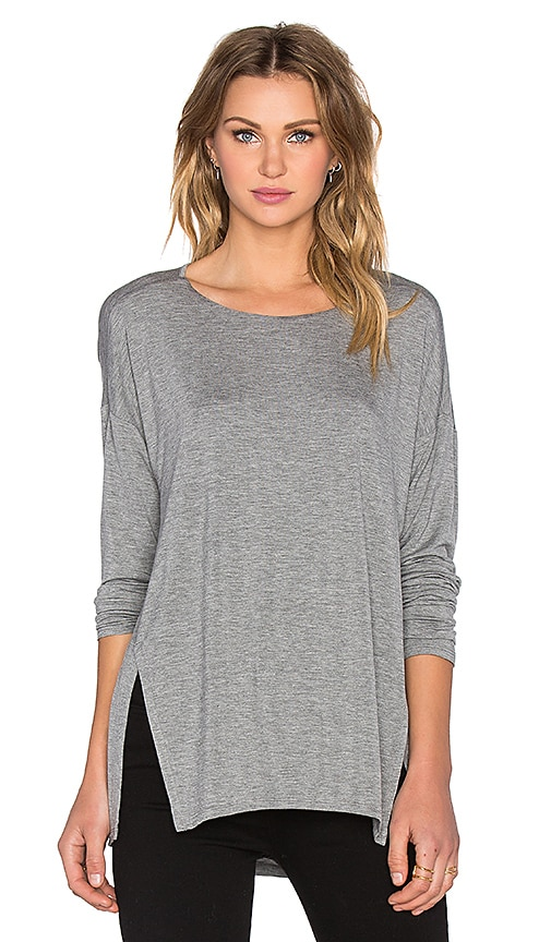 Heather Split Slouchy Top in Light Heather Grey