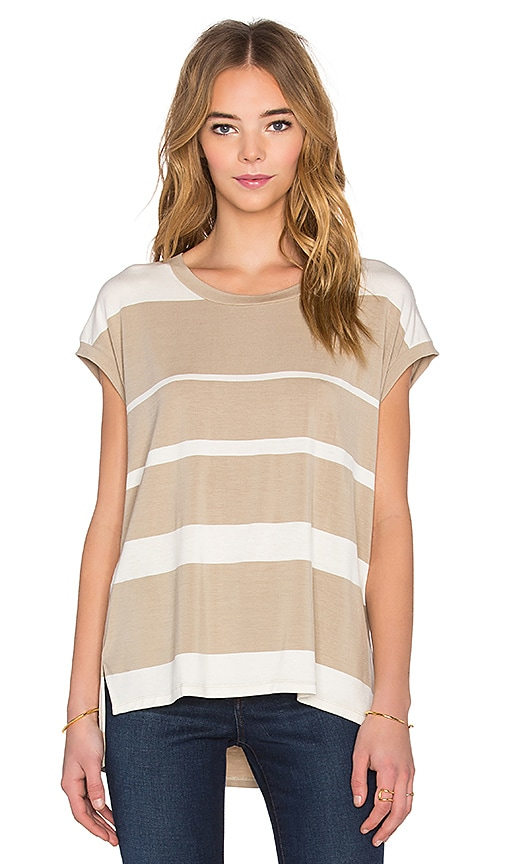 Heather Stripe Split Tee in Tan & Ivory