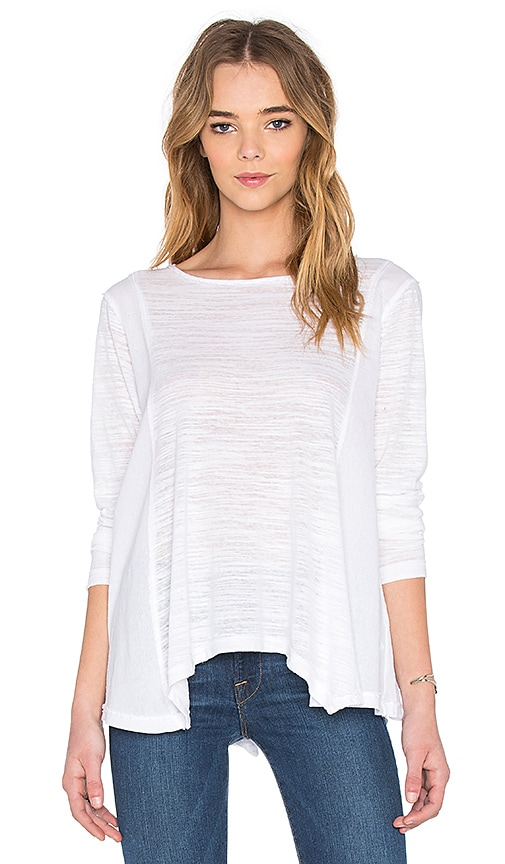 Heather Cotton & Gauze Long Sleeve Swing Top in White