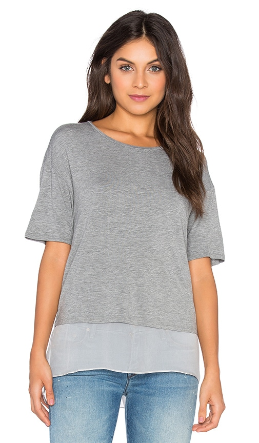 Heather Silk Lined Tee in Gray