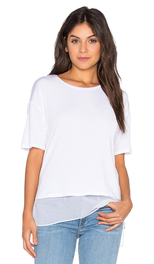 Heather Silk Lined Tee in White