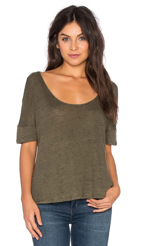 Heather Linen Scoop Neck Top in Green