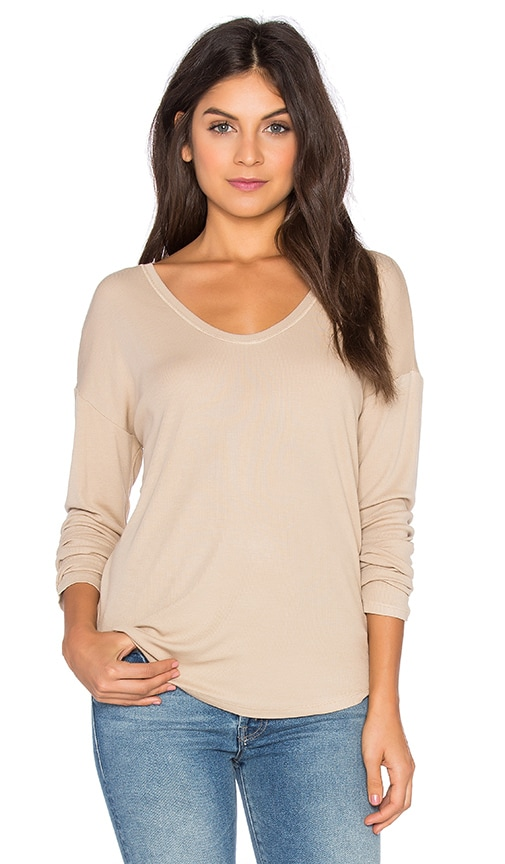Heather Rib Shirt Tail Tee in Tan