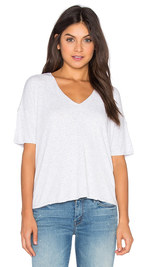 Heather Drop Shoulder V Neck Tee in Gray